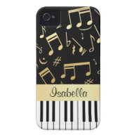 Musical Notes and Piano Keys Black and Gold iPhone 4 Cases