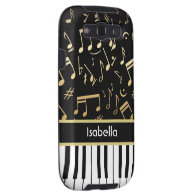 Musical Notes and Piano Keys Black and Gold Galaxy SIII Cover