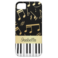 Musical Notes and Piano Keys Black and Gold iPhone 5 Case