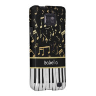 Musical Notes and Piano Keys Black and Gold Samsung Galaxy S Cases