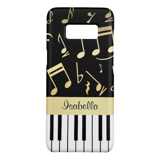 Musical Notes and Piano Keys Black and Gold Case-Mate Samsung Galaxy S8 Case