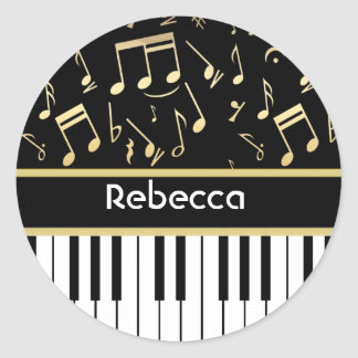 Musical Notes and Piano Keys Black and Gold Classic Round Sticker