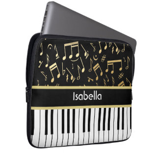 Musical Notes and Piano Keys Black and Gold Computer Sleeve