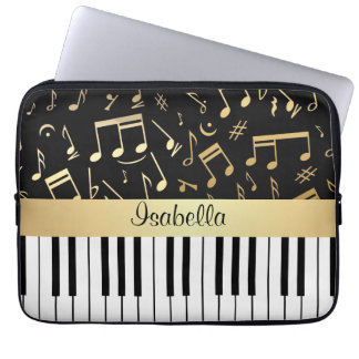 Musical Notes and Piano Keys Black and Gold Computer Sleeves