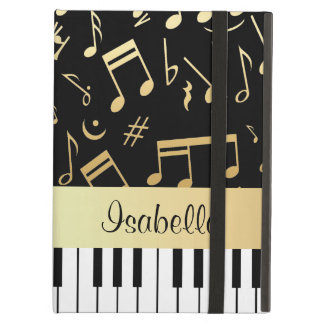 Musical Notes and Piano Keys Black and Gold Cover For iPad Air