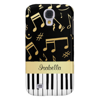 Musical Notes and Piano Keys Black and Gold Galaxy S4 Cover