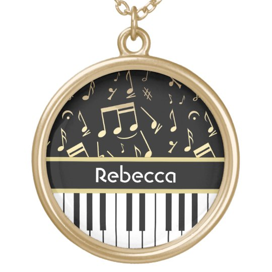 Musical Notes and Piano Keys Black and Gold Gold Plated Necklace