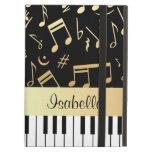 Musical Notes and Piano Keys Black and Gold iPad Air Covers