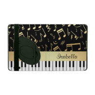 Musical Notes and Piano Keys Black and Gold iPad Cases