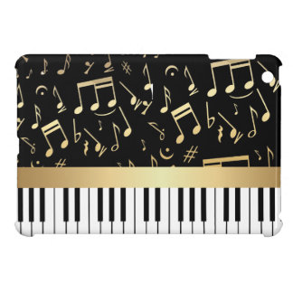 Musical Notes and Piano Keys Black and Gold iPad Mini Case