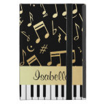 Musical Notes and Piano Keys Black and Gold iPad Mini Cases