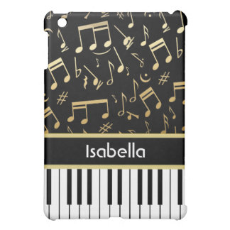 Musical Notes and Piano Keys Black and Gold iPad Mini Covers