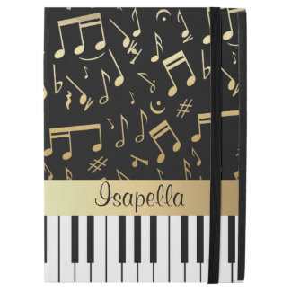 "Musical Notes and Piano Keys Black and Gold iPad Pro 12.9"" Case"