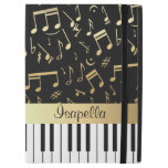 Musical Notes and Piano Keys Black and Gold iPad Pro Case