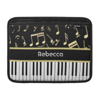 Musical Notes and Piano Keys Black and Gold MacBook Air Sleeve