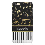 Musical Notes and Piano Keys Black and Gold Glossy iPhone 6 Plus Case