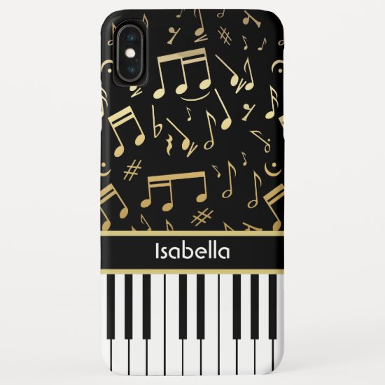 Musical Notes and Piano Keys Black and Gold iPhone XS Max Case