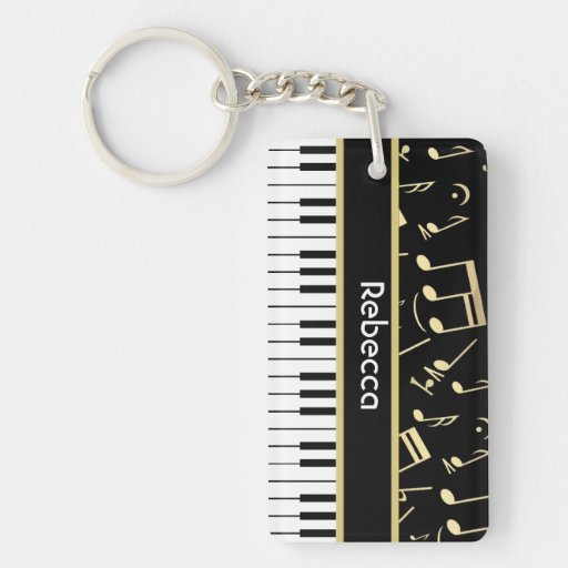 Musical Notes and Piano Keys Black and Gold Rectangular Acrylic Key Chains