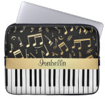 Musical Notes and Piano Keys Black and Gold Laptop Computer Sleeve