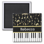 Musical Notes and Piano Keys Black and Gold Magnet