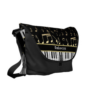 Musical Notes and Piano Keys Black and Gold Messenger Bags