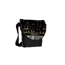 Musical Notes and Piano Keys Black and Gold Messenger Bag
