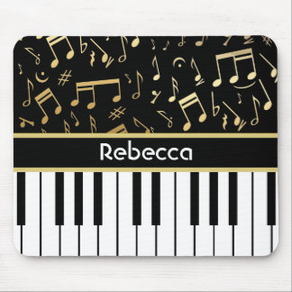Musical Notes and Piano Keys Black and Gold Mouse Pad