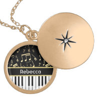 Musical Notes and Piano Keys Black and Gold Jewelry