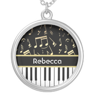 Musical Notes and Piano Keys Black and Gold Round Pendant Necklace