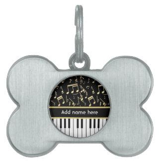 Musical Notes and Piano Keys Black and Gold Pet Name Tag
