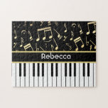 Musical Notes and Piano Keys Black and Gold Puzzle
