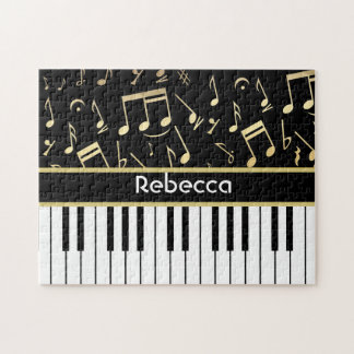 Musical Notes and Piano Keys Black and Gold Jigsaw Puzzles