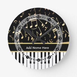 Musical Notes and Piano Keys Black and Gold Round Clock