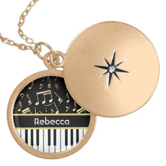 Musical Notes and Piano Keys Black and Gold Round Locket Necklace