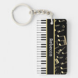 Musical Notes and Piano Keys Black and Gold Single-Sided Rectangular Acrylic Keychain