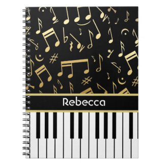 Musical Notes and Piano Keys Black and Gold Spiral Notebook