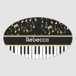 Musical Notes and Piano Keys Black and Gold Stickers