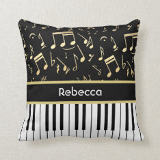 Musical Notes And Piano Keys Black And Gold Throw Pillow at Zazzle