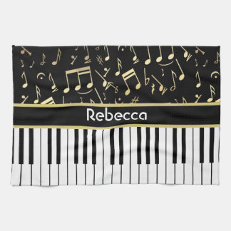 Musical Notes and Piano Keys Black and Gold Towel