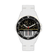 Musical Notes and Piano Keys Black and Gold Wristwatch