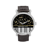 Musical Notes and Piano Keys Black and Gold Watch