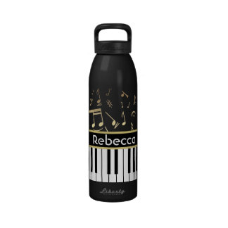 Musical Notes and Piano Keys Black and Gold Drinking Bottles