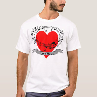 Musical Notes and Red Heart Design T-Shirt