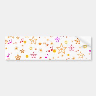 Musical Notes and Stars: Bumper Sticker