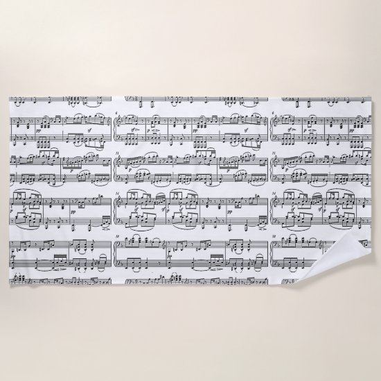 musical notes beach towel