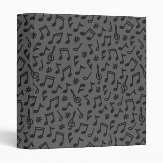 Musical notes black gray scribbly music pattern binder