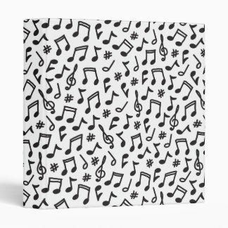 Musical notes black white scribbly music pattern 3 ring binder