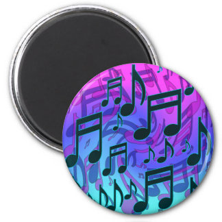Musical Notes Blue Green Aqua Pink Swirly Pattern Magnet