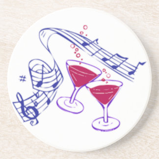 Musical Notes & Champagne Glasses Coaster