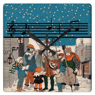 Musical Notes Christmas Carolers Square Wall Clock